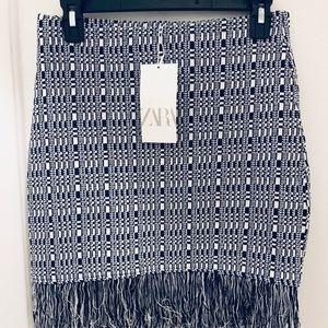 Zara Navy and White Fringe Skirt
